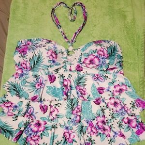 Floral 2 pc Halter Top Skirted Bottom Swim Suit